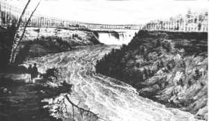 Rev. King and Dick Sims crossed the suspension bridge at Niagara Falls.
