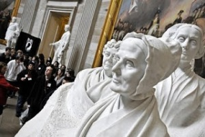 The statues of Elizabeth Cady Stanton, Lucretia Mott and Susan B. Anthony, the Capitol Rotunda - Photo by Bill O'Leary, Washington Post