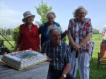 Bob Williams with his sisters Roberta, Betty and Shirley, Canada Day 2014.